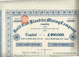 Action Ancienne - Gold Run (Klondike) Mining Company Ltd - Titre De 1902 - - Mines