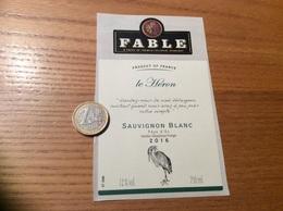 Etiquette Vin, Autocollant 2016 «Pays D'Oc - FABLE - SAUVIGNON BLANC» (extrait Le Héron - Jean De La Fontaine) - White Wines