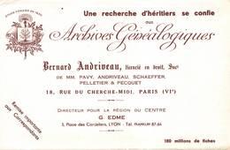 Buvard Recherche D'héritiers Archives Généalogistes Andriveau Pelletier Pecquet Paris 6 Lyon - Buvards, Protège-cahiers Illustrés