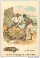 Chromos .n° 42430 . La Tortue De Mer.histoire Anecdotique De L Alimentation .format 10.5x7 Cm. - Trade Cards