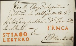 O) 1852 ARGENTINA, PREPHILATELY-PRESTAMP, SMALL OUTER WRAPPER WITH MANUSCRIPT VIVA LA CONFD ARGENTINA-AT TOP SENT FROM S - Argentina