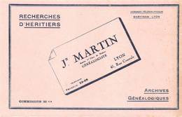 Buvard Recherches D'héritiers Archives Généalogistes Martin Lyon Rue Centrale - Buvards, Protège-cahiers Illustrés