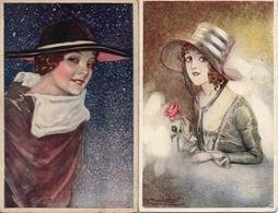 Illustrateur Mauzan - Femme Avec Chapeau X 2 - Mauzan, L.A.