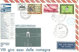 """2408 """" VIII GIRO AEREO DELLA ROMAGNA-AEROGRAMMA LUGO-ROMA - SIAI MARCHETTI S. 208 - 17/6/1973 """" FDC - 6. 1946-.. Republic"""