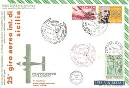 """2409 """" 25° GIRO AEREO INT. DI SICILIA -1/7/1973 - PARTENAVIA P68 VICTOR-1° CLASS. G.REGAZZONI-TEMPO 1H7'38'' """" FDC - 6. 1946-.. Republic"""