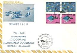 """2410 """" 1928/1978 CINQUANTENARIO CROCIERA DEL MEDITERRANEO OCC.-ORBETELLO-LOS ALCAZARES-26/5/1978 """" FDC - 6. 1946-.. Republic"""