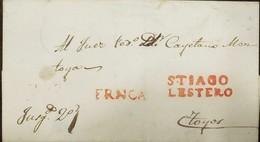 O) 1852 CIRCA-ARGENTINA,PRESTAMP-PREPHILATELY, FINE STRIKE S.TIAGO LESTERO-MARKING IN RED WITH ADDITIONAL STRAIGHT LINE - Argentina