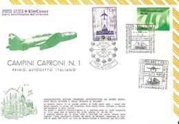 """2413 """"CAMPINI CAPRONI N°1-1° AVIOGETTO ITALIANO-INAUGUR. SEZ. TRASP. AEROMARITTIMI MUSEO NAZ.SCIENZA E TECNICA MI."""" FDC - 6. 1946-.. Repubblica"""