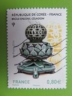 Timbre France YT 5064 - 130ème Anniversaire Relations France Et République De Corée - Brûle Encens - Céladon - 2016 - Used Stamps