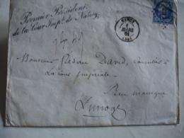 1857 Petit Chiffre 2217 Nancy Lettre 1 Er President Cour Imperiale - Marcophilie (Lettres)