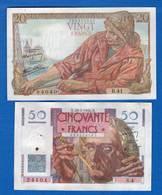 20  Fr  + 50  Fr  2 Billets  Billets  Dans  L'etat - 1871-1952 Antichi Franchi Circolanti Nel XX Secolo