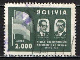 BOLIVIA - 1960 - PRESIDENTI E BANDIERE DI BOLIVIA E MESSICO - USATO - Bolivia