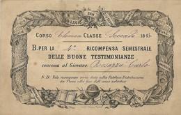 """2432 """" 1885-COLLEGIO S. GIUSEPPE-BUONO PER LA 4a RICOMPENSA SEMESTRALE AL GIOVANE ROSAZZA CARLO """" ORIGINALE - Diplomi E Pagelle"""