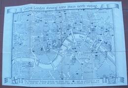 Ancienne Plan De LONDRES Et Ses Différents Monuments CENTRAL LONDON SHOWING SOME PLACES WORTH VISTING - Cartes