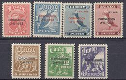 LUNDY - 1953 - Lotto Di 7 Valori Nuovi MNH, Con Sovrastampa In Occasione Dell'incoronazione Della Regina Elisabetta. - Local Issues