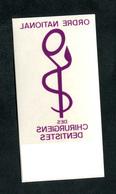 """Sticker Autocollant De Pare-brise Auto """"Ordre National Des Chirurgiens Dentistes"""" - Matériel Médical & Dentaire"""