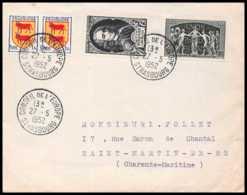 6753 N°854 VOLTAIRE CONSEIL DE L'EUROPE 1952 St Martin De Ré Charente-maritime France Lettre (cover) - 1921-1960: Moderne