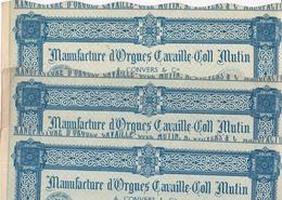 Manufacture D'ORGUES CAVAILLE-COLL MUTIN - A. CONVERS & Cie - Lot De 3 Actions De 100 Francs Au Porteur - (orgue) - Industrie