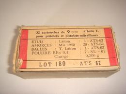 Ancienne Munition Lot De 32 Cartouches De 9 Mm à Balle Traçante Avec Boite D'origine - Militaria