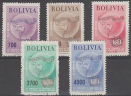 BOLIVIA - 1957 Airmail Map. Scott C197-201. MNH ** - Bolivia