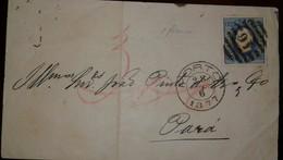 O) 1877 PORTUGAL, KING LUIZ SCT 47 150r Blue EMBOSSED, FROM PORTO TO PARÁ, XF - 1862-1884 : D.Luiz I