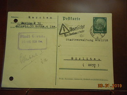 Entier Postal De 1938 D Allemagne Pour Gorlitz - Allemagne