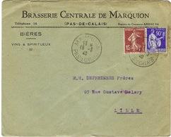 ENVELOPPE  A EN-TETE BRASSERIE CENTRALE DE MARQUION PAS DE CALAIS - Marcophilie (Lettres)