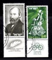 ISRAEL, 1968, Used Stamp(s), With Tab, Mapu, Writer,  SG Number 403-404,  Scannumber 17393 - Israel