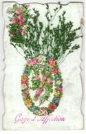 Oblaten-AK Tauben Und Kreuz Mit Einem Blumenkranz - Ansichtskarten