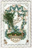 Oblaten-AK Brieftaube Mit Blumen Und Spitzenrahmen, Neujahrsgruss - Ansichtskarten