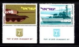 ISRAEL, 1969, Unused Hinged Stamp(s), With Tab, Independence Tank, SG Number 410-411, Scan Number 17395 - Unused Stamps (with Tabs)