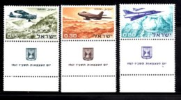 ISRAEL, 1967, Unused Stamp(s), With Tab, Independence Aircraft,  SG Number 358-360,  Scannumber 17378 - Israel