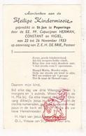Devotie - Heilige KinderMissie St.-Jan Poperinge 1953 / EH Pastoor De Brie - Santini