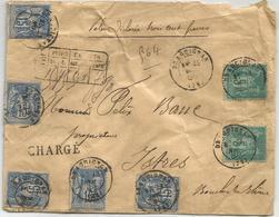 SAGE 15CX5+5CX2 LETTRE CHARGE 300FR TYPE 17 DRAGUIGNAN 1888 + DESCRIPTIF RECTO - Poststempel (Briefe)
