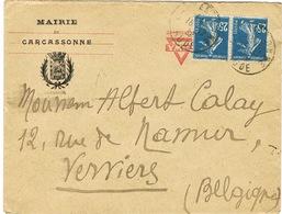 ENVELOPPE  A EN-TETE MAIRIE DE CARCASSONNE ADRESSEE EN BELGIQUE REUTILISATION ENVELOPPE AMERICAN YMCA - Postmark Collection (Covers)