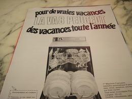 ANCIENNE  PUBLICITE LAVE VAISELLE LA VA 8  DE PEUGEOT 1968 - Publicité