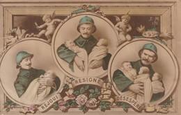 Rare Cpa Réjoui , Résigné, Désespéré Poilu Avec Bébés - 1914-18