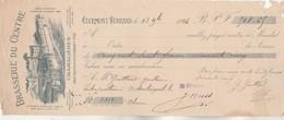 Lettre Change Illustrée 1894 Brasserie Du Centre CHAMALIERES CLERMONT Ferrand  - Guittard Montaigut Le Blanc - Cambiali