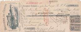 Lettre Change Illustrée 1895 Brasserie Du Centre CHAMALIERES CLERMONT Ferrand  - Guittard Bières Montaigut Le Blanc - Cambiali