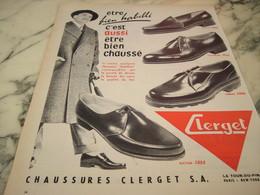 ANCIENNE PUBLICITE CHAUSSURE CLERGET 1955 - Habits & Linge D'époque