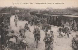 Rare Cpa Débarquement Des Troupes En Gare De Guer Train à Vapeur Soldats Casques Adrian - 1914-18