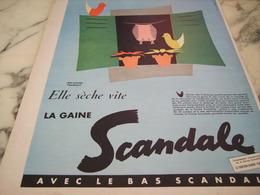 ANCIENNE PUBLICITE ELLE SECHE VITE GAINE SCANDALE  1955 - Habits & Linge D'époque
