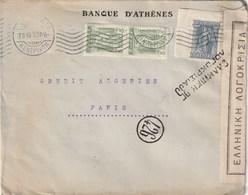 LETTRE BANQUE D'ATHENE 1919 Censure Hellenique - Storia Postale