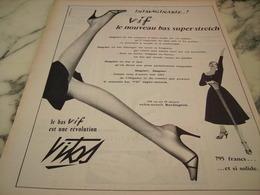 ANCIENNE PUBLICITE LE BAS VIF DE VITOS  1955 - Habits & Linge D'époque