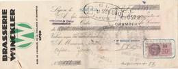 Lettre Change Illustrée 26/3/1937 Brasserie WINCKLER Bières W LYON Rhône - Sonot Yenne Savoie - Wechsel