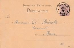 GANZSACHE 1886 BARR Elsass - Deutschland