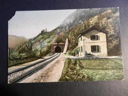 19869) ITALIA FERROVIA STAZIONE CASELLO TUNNEL LOCALITA' DA IDENTIFICARE VIAGGIATA AMBULANTE MILANO GENOVA 1912 - Cartoline