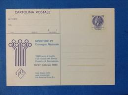 1980 ITALIA CARTOLINA POSTALE NUOVA NEW MNH** MINISTERO PT CONVEGNO NAZIONALE DA 120 LIRE SECONDA TIRATURA - - 6. 1946-.. Repubblica