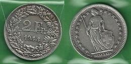SVIZZERA 1944 - Helvetia - 2 Fr / CHF - BB / SPL  - Argento / Argent / Silver - Confezione In Bustina - Svizzera