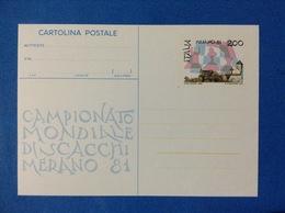 1981 ITALIA CARTOLINA POSTALE NUOVA CAMPIONATO MONDIALE DI SCACCHI MERANO - Entiers Postaux
